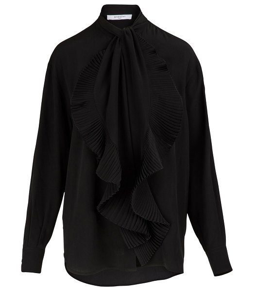 Givenchy Blouse with tie collar in noir - The Givenchy collection takes refinement to the next...