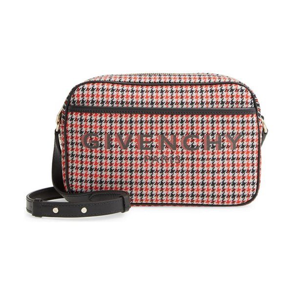 Givenchy bond houndstooth wool camera crossbody bag in red/ black