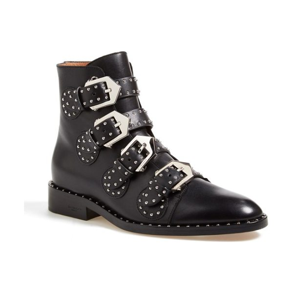 Givenchy prue studded buckle bootie in black leather