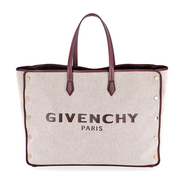 Givenchy Medium Bond Canvas & Leather Tote Bag in wine
