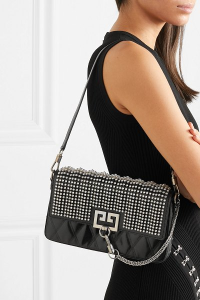 Givenchy charm crystal-embellished quilted leather shoulder bag in black - Givenchy's 'Charm' shoulder bag has been made in Italy...