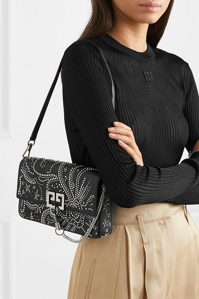 Givenchy charm studded leather shoulder bag in black - Givenchy's 'Charm' shoulder bag has been made in Italy...