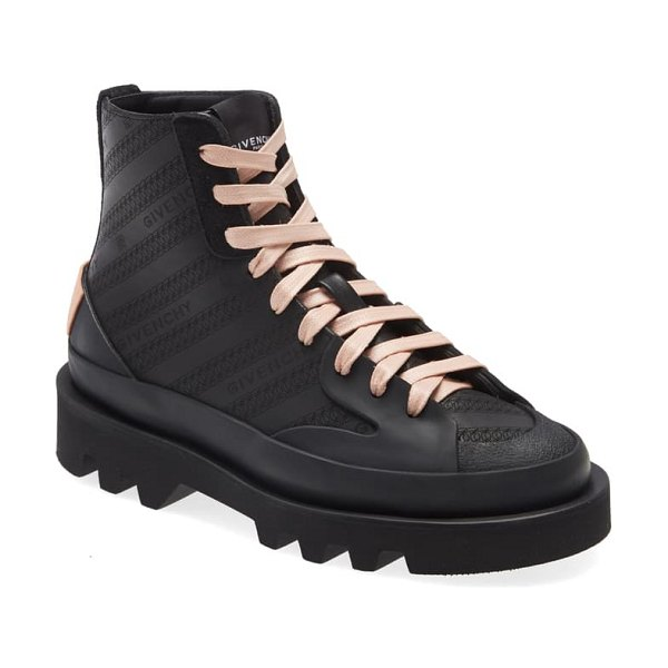 Givenchy clapham perforated logo sneaker boot in black/ pink