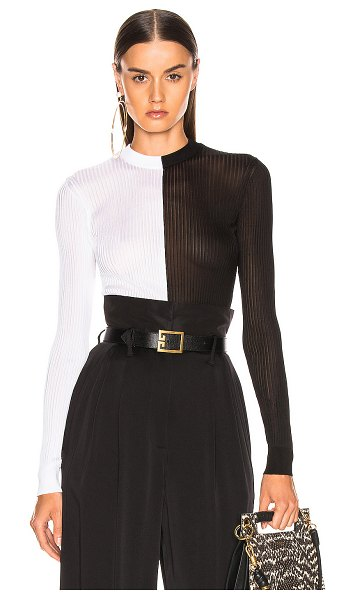 Givenchy colorblock rib sweater in black & white