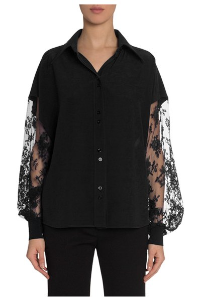 Givenchy Crepe Blouse with Lace Lantern Sleeves in black