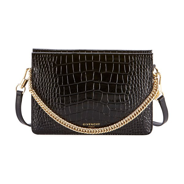 Givenchy Crocodile-Embossed Crossbody Bag in black