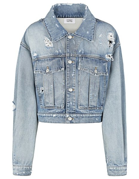 Givenchy cropped distressed denim jacket in light blue