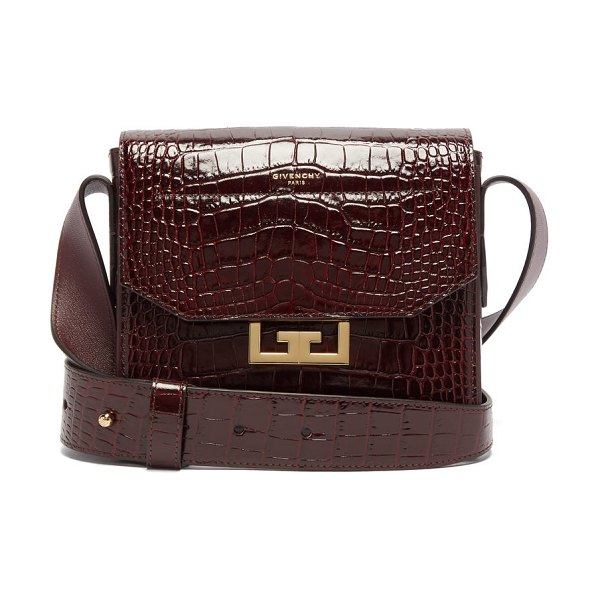 Givenchy eden small crocodile effect leather shoulder bag in burgundy