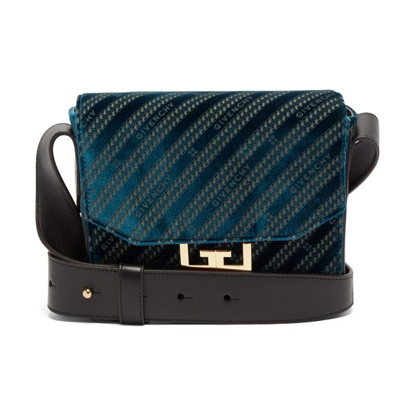 Givenchy eden small monogram velvet messenger bag in blue