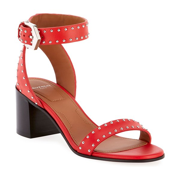 Givenchy Elegant Studded Leather Sandals in poppy red