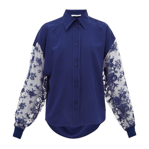 Givenchy floral lace silk crepe blouse in blue