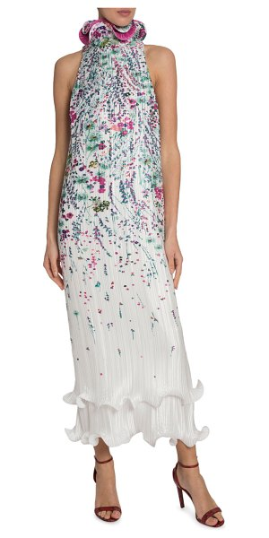 Givenchy Floral Pleated Dress in white/blue