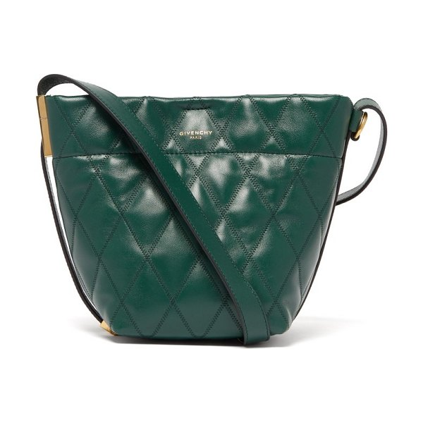 Givenchy gv quilted leather mini bucket bag in green - Givenchy - Givenchy uplifts its forest-green leather GV...