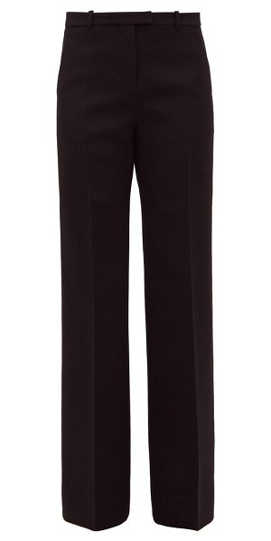 Givenchy high rise wool blend twill wide leg trousers in black