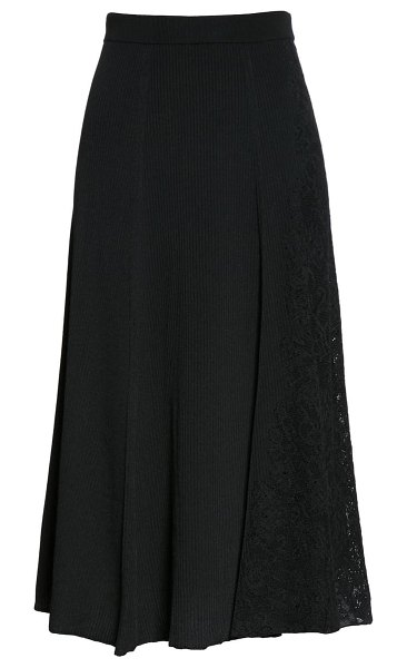 Givenchy lace panel ribbed midi sweater skirt in black