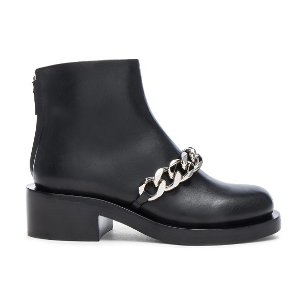 GIVENCHY Leather Laura Silver Chain Ankle Boots - Leather upper and sole.  Made in Italy.  Approx 50mm/ 2...