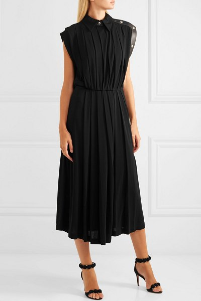 Givenchy leather-trimmed pleated jersey midi dress in black - Givenchy is one of Meghan Markle's favorite brands, and...