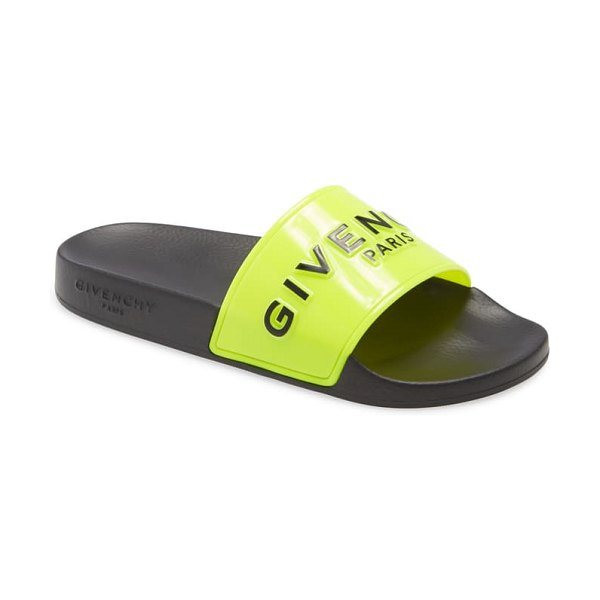 Givenchy logo slide sandal in fluorescent yellow