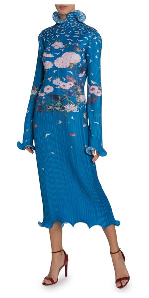 Givenchy Long-Sleeve High-Neck Japanese Dress in blue