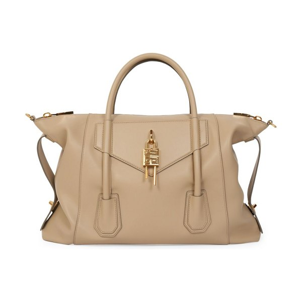 Givenchy medium antigona lock soft leather satchel in beige