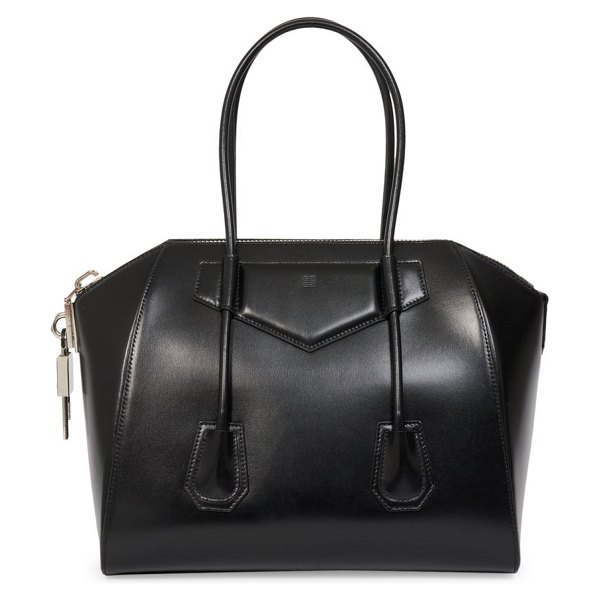 Givenchy medium antigona lock leather satchel in black