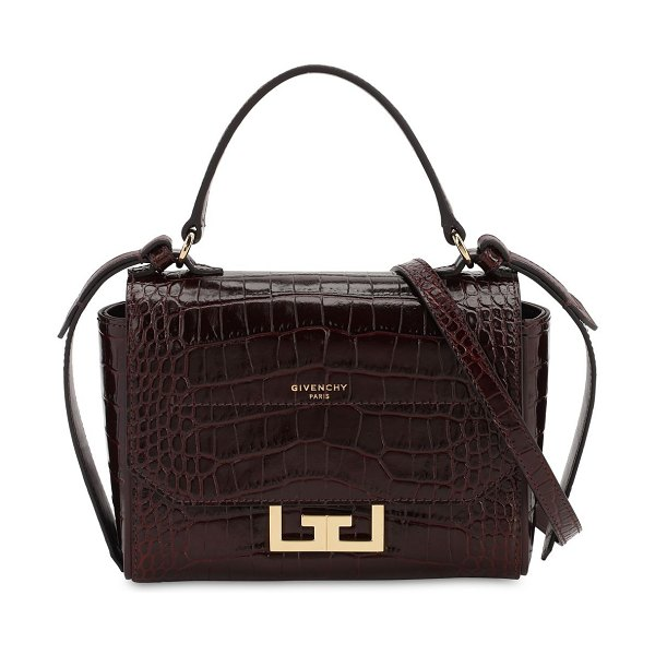 Givenchy Mini eden croc embossed leather bag in aubergine