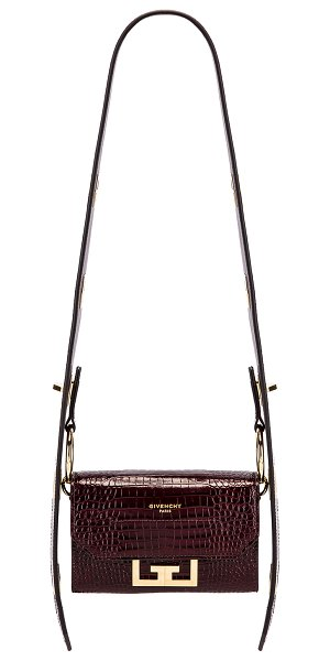 Givenchy nano eden crocodile embossed leather bag in aubergine