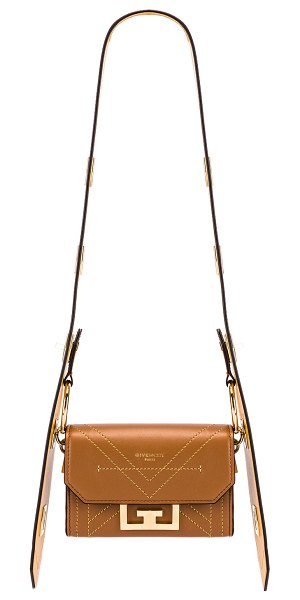 Givenchy nano eden leather contrasted details bag in pony brown