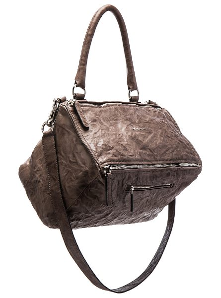 "Givenchy Old Pepe Medium Pandora Bag in gray - ""Wrinkled sheepskin leather with canvas lining and..."