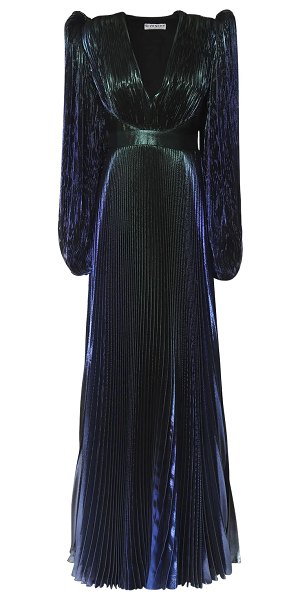 Givenchy Pleated silk blend lamé long dress in purple,blue