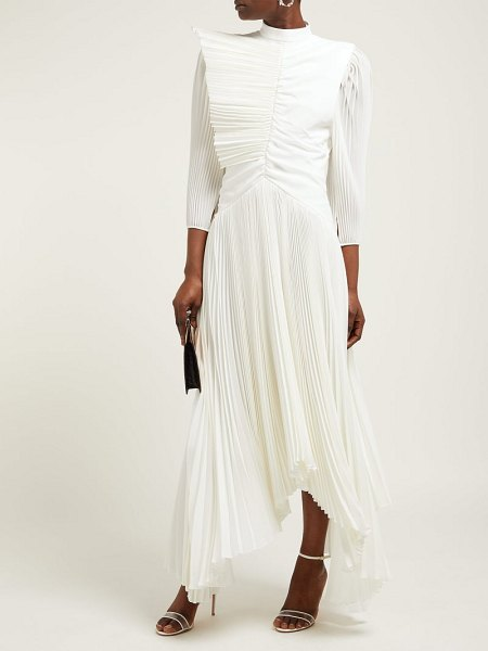 Givenchy pleated silk crepe de chine gown in ivory - Givenchy - This ivory silk crepe de Chine gown is a...