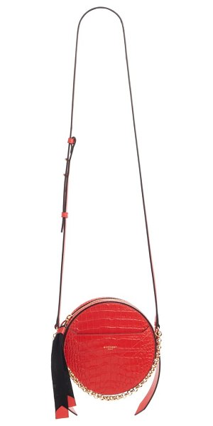 Givenchy round eden crocodile embossed leather crossbody bag in red
