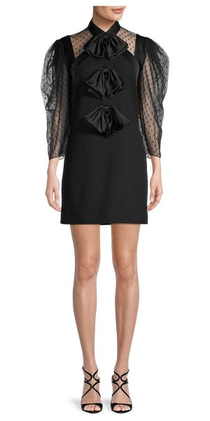 Givenchy Satin Bow Sheer Puff-Sleeve Wool Dress in black