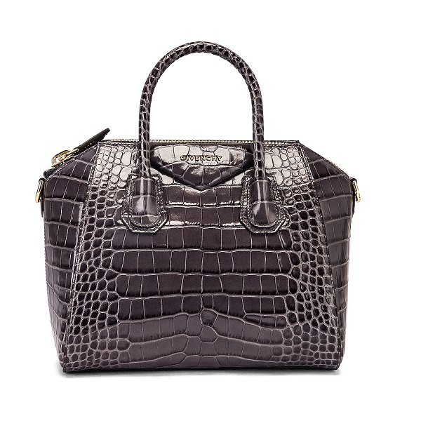 Givenchy small crocodile embossed antigona in storm grey