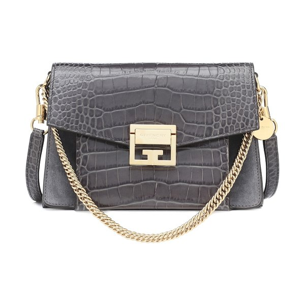 Givenchy small gv3 leather shoulder bag in grey