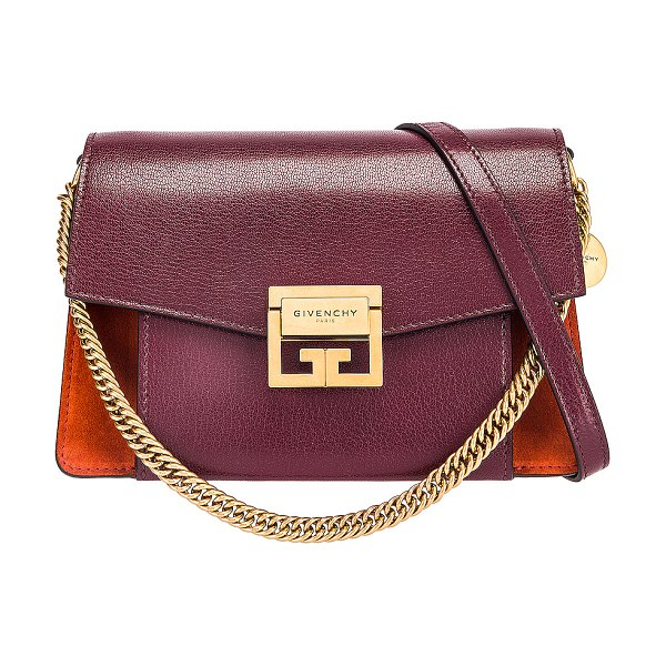 Givenchy small leather & suede gv3 in burgundy & red