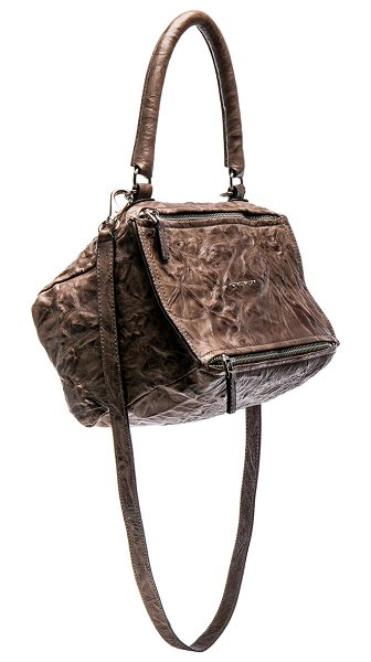 "Givenchy Small Old Pepe Pandora in brown - ""Textured sheepskin leather with canvas lining and..."