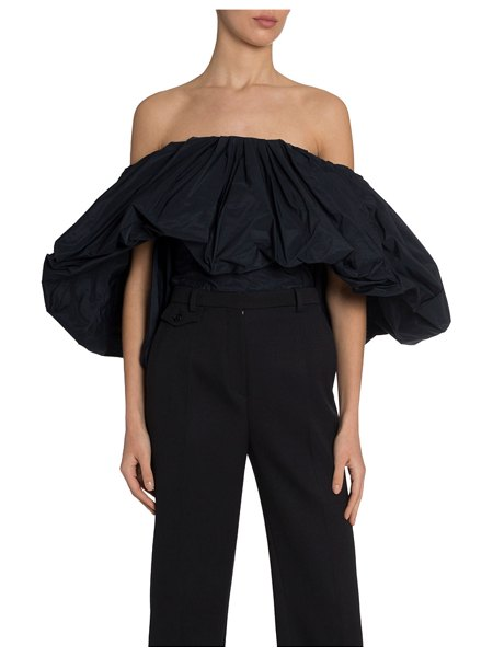 Givenchy Taffeta Off-the-Shoulder Top in navy