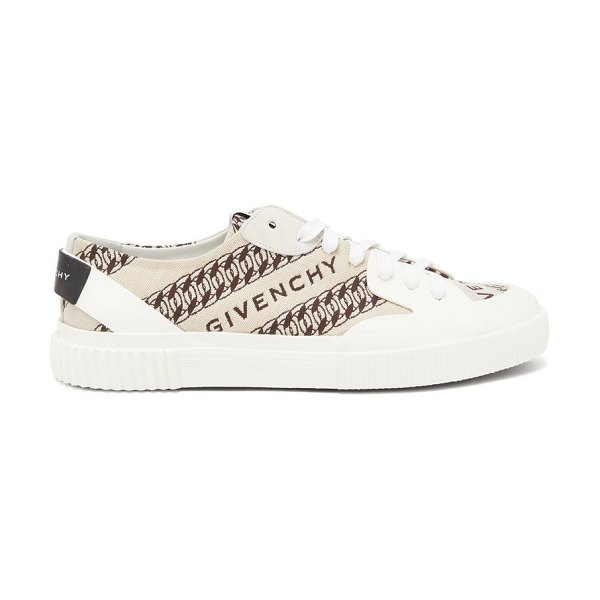 Givenchy tennis chain and logo-jacquard trainers in beige multi