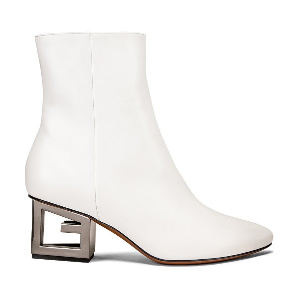 Givenchy triangle heel ankle boot in ivory