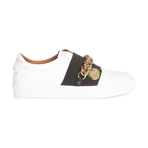 Givenchy urban street chain leather sneakers in white black