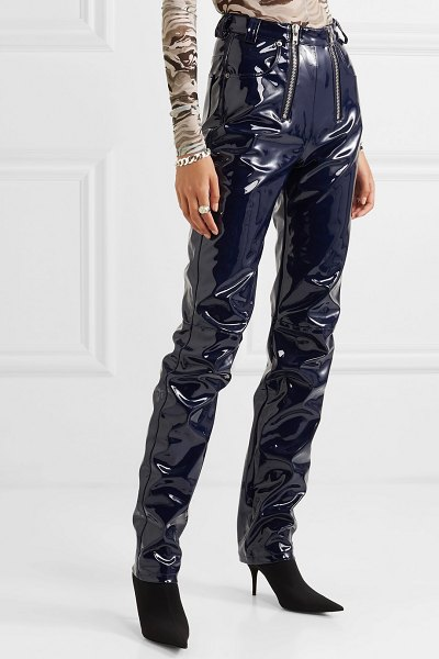 Gmbh frey zip-embellished glossed-pu tapered pants in navy