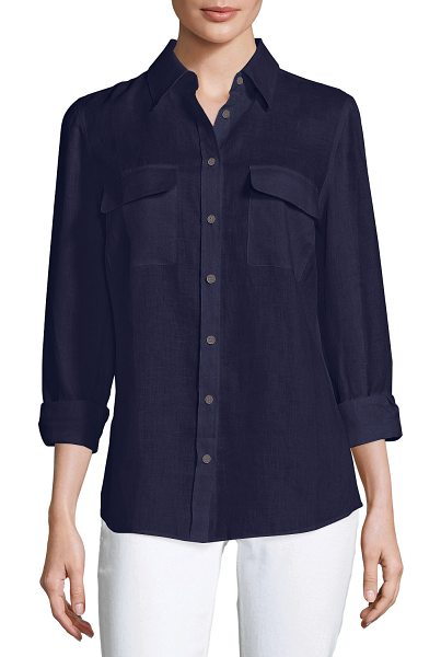 Go Silk Long-Sleeve Button-Front Linen Top in navy
