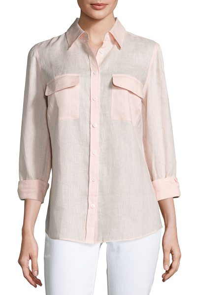 Go Silk Long-Sleeve Button-Front Linen Top in soft pink