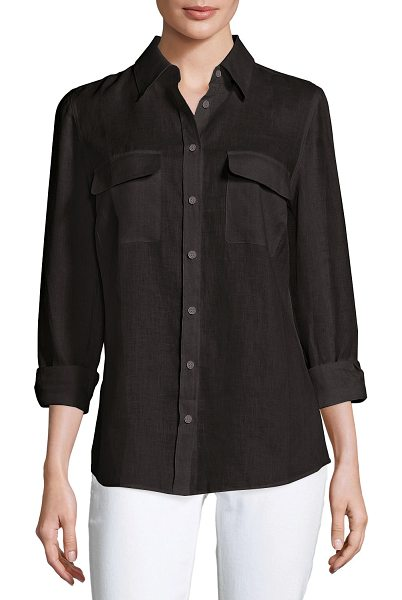 Go Silk Long-Sleeve Button-Front Linen Top in black