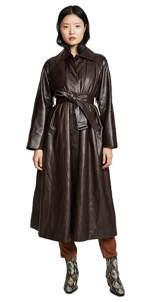 GOEN.J faux leather trench coat in brown