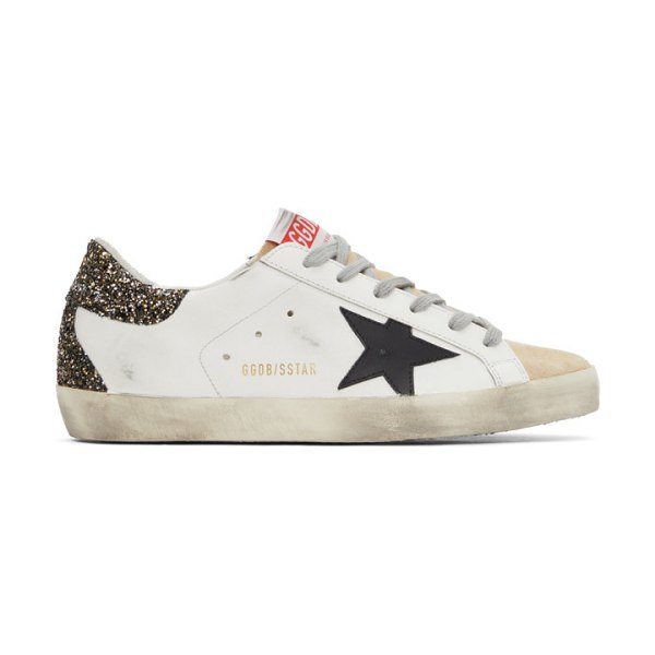 Golden Goose and gold glitter super-star sneakers in white