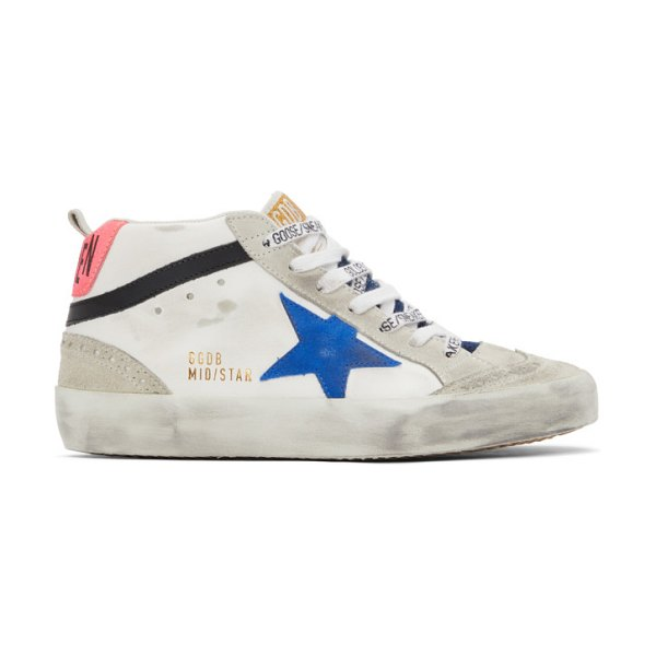 Golden Goose and grey mid star sneakers in white