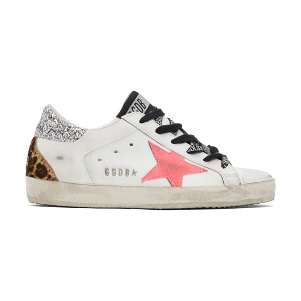 Golden Goose and pink super-star sneakers in white
