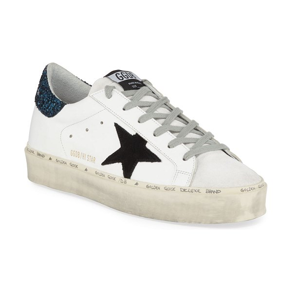 Golden Goose Hi Star Leather Sneakers with Glitter Back in white blue black